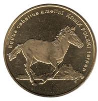 Животные мира - лошадь (польский коник). Монета 2 злотых, 2014 год, Польша.