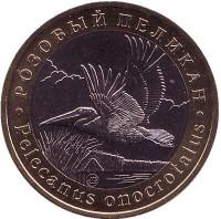 Розовый пеликан. Монетовидный жетон. 5 червонцев, 2017 год. ММД.
