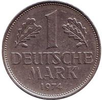 Монета 1 марка. 1974 год (D), ФРГ.