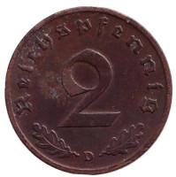 Монета 2 рейхспфеннига. 1940 год (D), Германия (Третий Рейх).