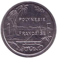 Монета 1 франк. 1986 год, Французская Полинезия. UNC.