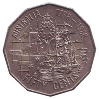 200 лет открытию Австралии. Монета 50 центов. 1988 год, Австралия. Из обращения.