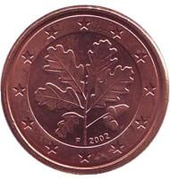 Монета 1 цент. 2002 год (F), Германия.