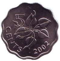 Орхидея. Монета 5 центов. 2002 год, Свазиленд.