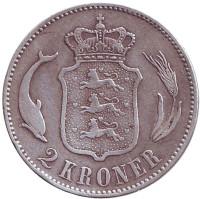 Король Кристиан IX. Монета 2 кроны. 1876 год, Дания.