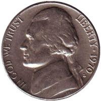 Джефферсон. Монтичелло. Монета 5 центов. 1970 год (S), США.