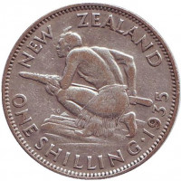 Воин Маори. Монета 1 шиллинг. 1935 год, Новая Зеландия.