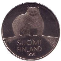 Медведь. Монета 50 пенни. 1991 год, Финляндия. UNC.