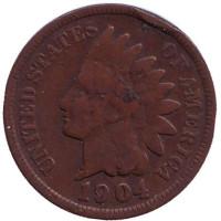 Индеец. Монета 1 цент. 1904 год, США.