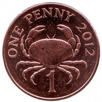 Краб. Монета 1 пенни, 2012 год, Гернси. UNC.