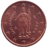 Монета 2 цента, 2006 год, Сан-Марино.