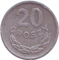 Монета 20 грошей. 1972 год, Польша.