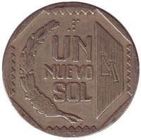 Монета 1 соль. 1991 год, Перу.