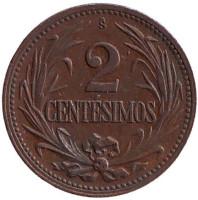 Монета 2 сентесимо. 1943 год, Уругвай.