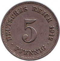 Монета 5 пфеннигов. 1912 год (J), Германская империя.