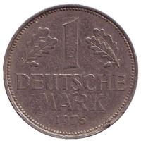 Монета 1 марка. 1975 год (F), ФРГ.