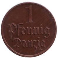 Монета 1 пфенниг. 1923 год, Данциг.