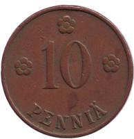 Монета 10 пенни. 1928 год, Финляндия.
