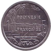Монета 1 франк. 1999 год, Французская Полинезия. UNC.