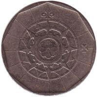 Роза ветров. Монета 20 эскудо. 1987 год, Португалия.