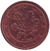 Монета 2 цента. 2002 год (F), Германия.