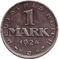 Монета 1 марка. 1924 год (J), Веймарская республика.
