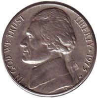 Джефферсон. Монтичелло. Монета 5 центов. 1973 год (D), США.