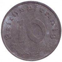 Монета 10 рейхспфеннигов. 1941 год (E), Третий Рейх.