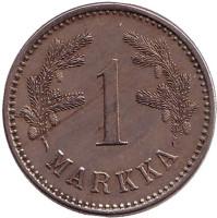 Монета 1 марка. 1923 год, Финляндия. Редкая.