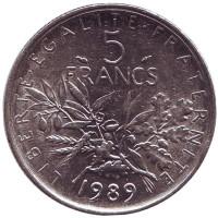 Монета 5 франков. 1989 год, Франция. Редкая.