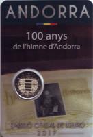 100 лет Гимну Андорры. Монета 2 евро. 2017 год, Андорра.
