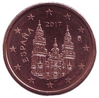 Монета 1 цент. 2017 год, Испания.