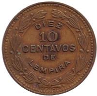 Монета 10 сентаво. 1989 год, Гондурас.