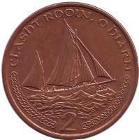Парусник. Монета 2 пенса, 2001 год (AC), Остров Мэн.