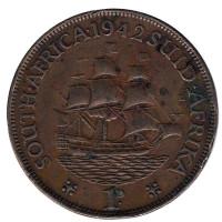 """Корабль """"Дромедарис"""". Монета 1 пенни. 1942 год, Южная Африка. (Без точки после даты)."""
