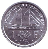 Парусник. Монета 1 франк. 1948 год, Сен-Пьер и Микелон.