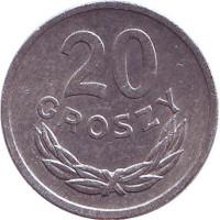 Монета 20 грошей. 1976 год, Польша.