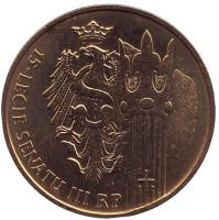 15-летие Сената Польши. Монета 2 злотых, 2004 год, Польша.