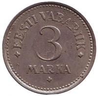 Монета 3 марки, 1922 год, Эстония.