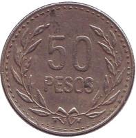 Монета 50 песо. 1990 год, Колумбия.