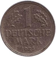 Монета 1 марка. 1976 год (G), ФРГ.