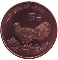 """Ушастый коричневый фазан. Серия """"Красная книга"""". Монета 5 юаней. 1998 год, Китай."""