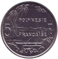 Монета 5 франков. 2000 год, Французская Полинезия. UNC.
