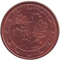 Монета 5 центов. 2002 год (F), Германия.