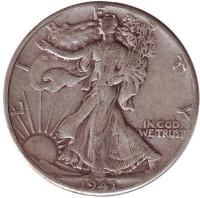 Шагающая свобода. Монета 50 центов. 1941 год (P), США.