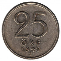 """Монета 25 эре. 1947 год, Швеция. (Толстая """"7"""")"""