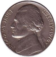 Джефферсон. Монтичелло. Монета 5 центов. 1976 год (D), США.
