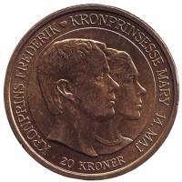 Свадьба Принца Фредерика и Мисс Мэри Дональдсон. Монета 20 крон. 2004 год, Дания.