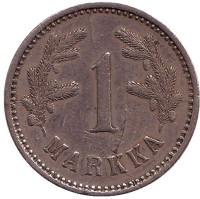 Монета 1 марка. 1924 год, Финляндия. Нечастая.