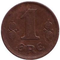 Монета 1 эре. 1919 год, Дания. (бронза)